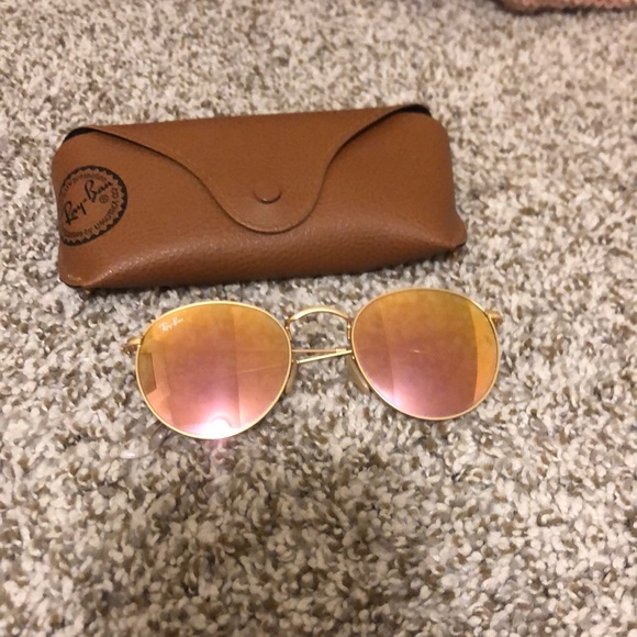 Flash + gold round flat lenses ray bands